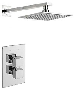 Tre Mercati Rubik Thermostatic Twin Shower Valve With Head & Arm.