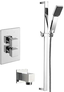 Tre Mercati Rubik Twin Thermostatic Shower Valve With Slide Rail & Wall Outlet.