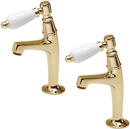 Tre Mercati Kitchen Series 900 Lever High Neck Pillar Taps (Gold, Pair).