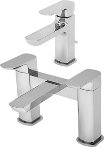 Tre Mercati Vamp Basin & Bath Filler Tap Set (Chrome).