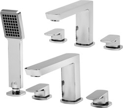 Tre Mercati Vamp 3 Hole Basin & 4 Hole Bath Shower Mixer Tap Set (Chrome).