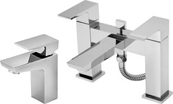 Tre Mercati Wilde Basin & Bath Shower Mixer Tap Set (Chrome).