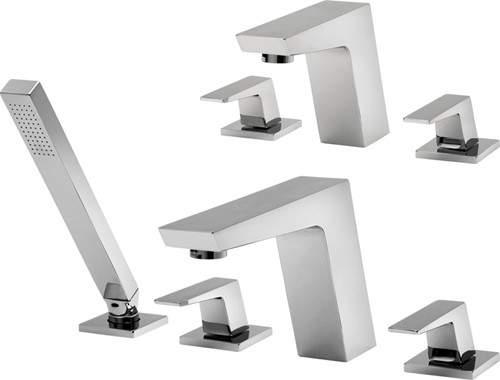 Tre Mercati Wilde 3 Hole Basin & 4 Hole Bath Shower Mixer Tap Set (Chrome).