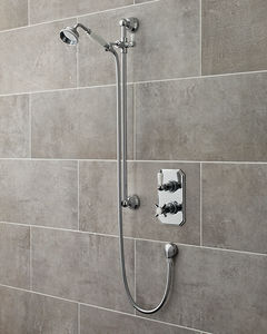 Ultra Showers Traditional Thermostatic Shower Valve With Slide Rail Kit (Chrome).