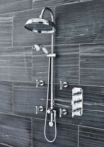 Ultra Showers Traditional Triple Thermostatic Shower Valve, Riser & Body Jets.