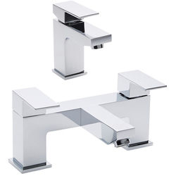 Hudson Reed Art Basin Mixer & Bath Shower Mixer Tap Set (Free Shower Kit).