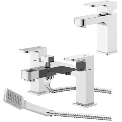 HR Astra Basin & Bath Shower Mixer Tap Pack (Chrome).
