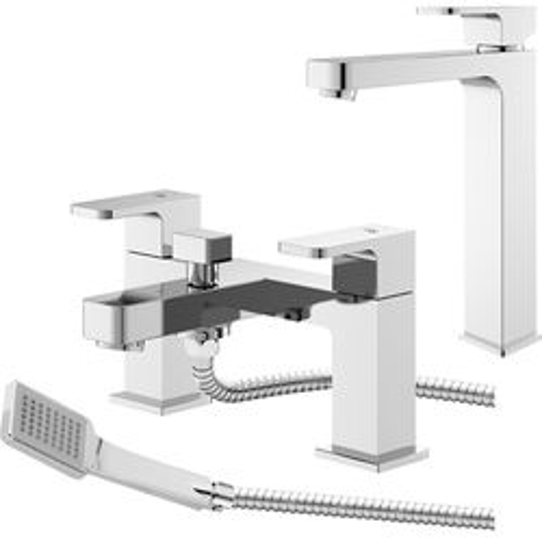 HR Astra Tall Basin & Bath Shower Mixer Tap Pack (Chrome).