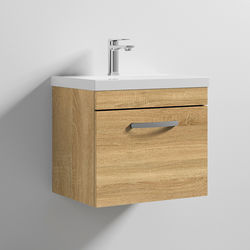 Nuie Furniture Wall Vanity Unit With 1 x Drawer & Basin 500mm (Natural Oak).