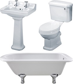 Premier Suites Berkshire 1700mm Single Ended Bath With Toilet & Basin.