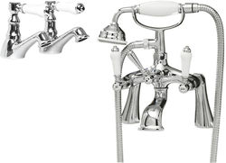 Ultra Bloomsbury Basin & Bath Shower Mixer Tap Pack (Chrome).
