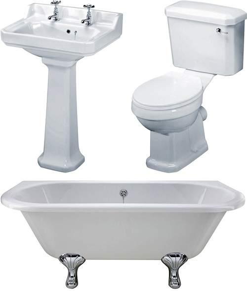 Premier Suites BTW 1700mm Double Ended Bath With Toilet & Basin.
