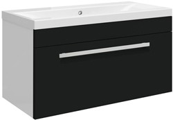 Ultra Design Wall Hung Vanity Unit With Option 1 Basin (Black). 794x399mm.