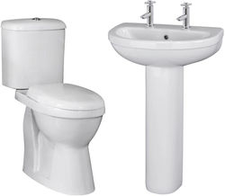 Premier Caledon Suite With Toilet, 550mm Basin & Full Pedestal (2TH).