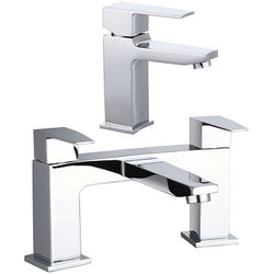Hudson Reed Camber Designer Basin & Bath Filler Tap (Chrome).