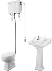 Premier Carlton High level Toilet With 560mm Basin & Pedestal (2TH).