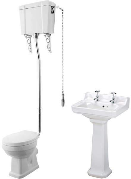 Premier Carlton High level Toilet With 560mm Basin & Pedestal (2TH).