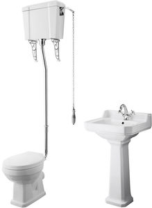 Premier Carlton High level Toilet With 500mm Basin & Pedestal (1TH).