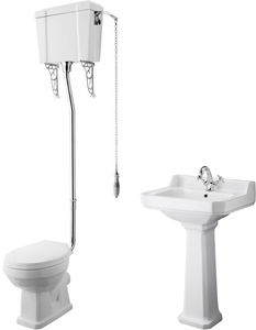 Premier Carlton High level Toilet With 560mm Basin & Pedestal (1TH).