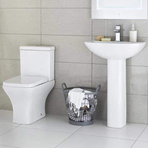 Premier Carmela Semi Flush Toilet With 550mm Basin & Full Pedestal.