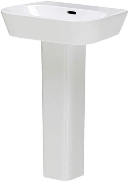 Hudson Reed Ceramics Basin & Full Pedestal (1 Tap Hole, 600mm).