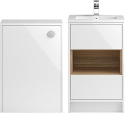 HR Coast 500mm Vanity Unit With 600mm WC Unit & Basin 2 (White).