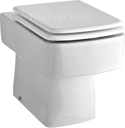 Hudson Reed Ceramics Square Back To Wall Toilet Pan With Top Fix Seat.