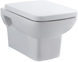 Hudson Reed Ceramics Square Wall Hung Toilet Pan With Soft Close Seat.