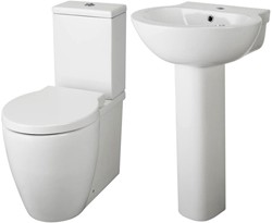 Premier Ceramics Flush To Wall Toilet With Seat, Basin & Full Pedestal.