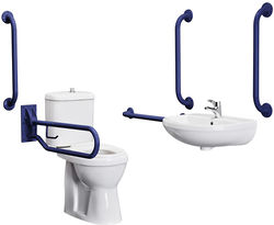 Premier DocM Complete DocM Pack With Toilet, Basin, Tap & Blue Rails.