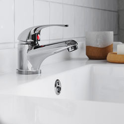 Ultra Eon Basin Mixer Tap With Push Button Waste (Chrome).