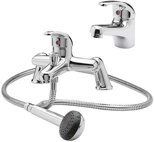 Ultra Eon Bath Shower Mixer & Mono Basin Tap Pack (Chrome).