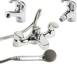 Ultra Eon Bath Shower Mixer, Mono Basin & Bidet Tap Pack (Chrome).