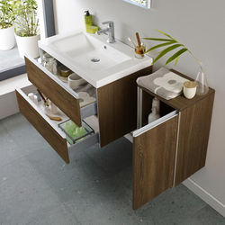 Hudson Reed Erin Wall Mounted Vanity Pack With Basin (Textured Oak).
