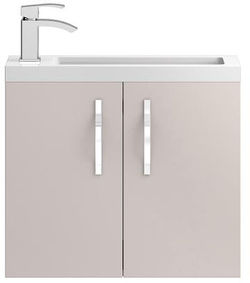HR Apollo Compact Wall Hung Vanity Unit & Basin (600mm, Cashmere).