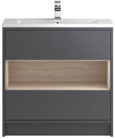 HR Coast Floor Standing 800mm Vanity Unit & Basin Type 2 (Grey Gloss).