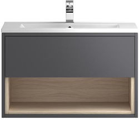 HR Coast Wall Hung 800mm Vanity Unit & Basin Type 1 (Grey Gloss).