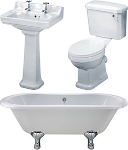 Premier Suites Grosvenor 1700mm Double Ended Bath With Toilet & Basin.
