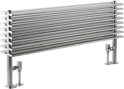 Hudson Reed Radiators Fin Floor Mounted Radiator (Silver). 1000x504mm.