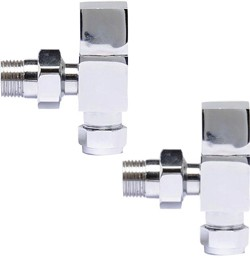 Towel Rails Pure Square Radiator Valves Pack Angled (Pair).