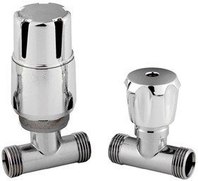 Towel Rails Straight Thermostatic Radiator Valve Pack (chrome).