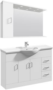 Italia Furniture Vanity Unit Pack With Type 1 Basin & Mirror (1200mm, White).