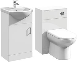 Italia Furniture 450mm Vanity Unit With Basin Type 1 & 500mm WC Unit (White).