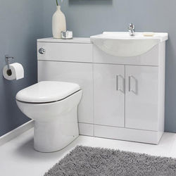 Italia Furniture Vanity Pack With Pan & Curved Basin 1050mm (RH, White).