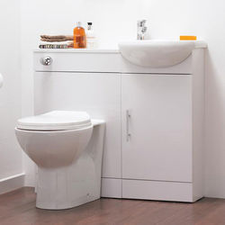 Italia Furniture Vanity Pack With Pan, Cistern, Tap & Basin 920mm (RH, White).