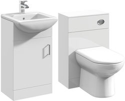 Italia Furniture 450mm Vanity Unit With Basin Type 2 & 500mm WC Unit (White).