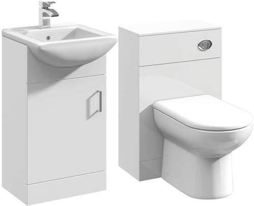 Italia Furniture 450mm Vanity Unit With Basin Type 2 & 500mm WC Unit (White).