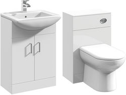 Italia Furniture 550mm Vanity Unit With Basin Type 2 & 500mm WC Unit (White).