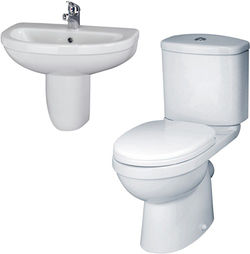 Crown Ceramics Ivo Suite With Toilet, 550mm Basin & Semi Pedestal (1 Tap Hole).