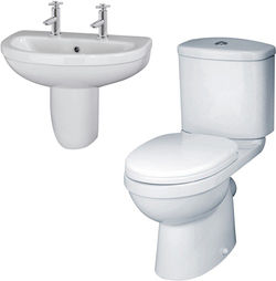 Crown Ceramics Ivo Suite With Toilet, 550mm Basin & Semi Pedestal (2 Tap Hole).